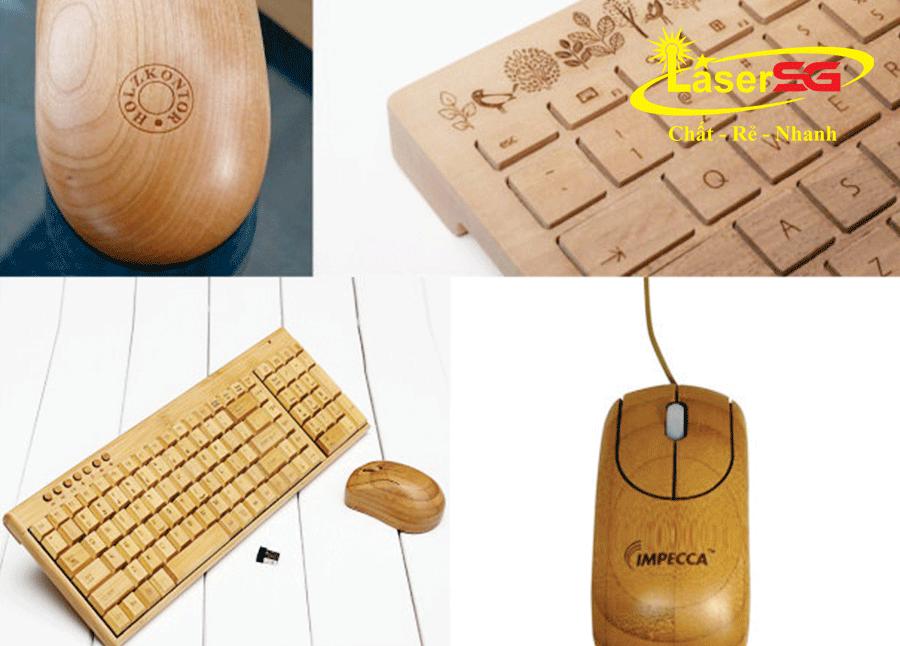 Khắc laser bàn phím và chuột gỗ
