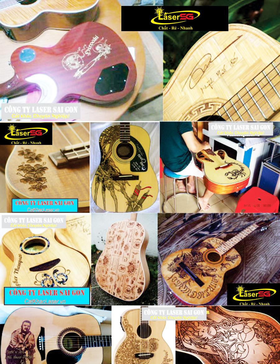 Đàn guitar được khắc laser cực chất
