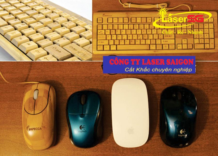Khắc bàn phím, chuột, USB bằng gỗ cực chất